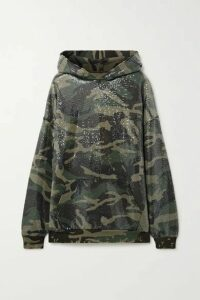 R13 - Sequined Distressed Camouflage-print Cotton And Lyocell-blend Hoodie - Green