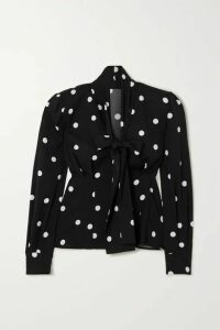 Dolce & Gabbana - Pussy-bow Polka-dot Silk-blend Blouse - Black