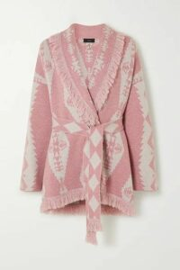 Alanui - Belted Fringed Cashmere-blend Jacquard Cardigan - Pink