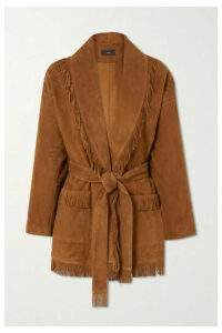 Alanui - Belted Fringed Suede Cardigan - Brown