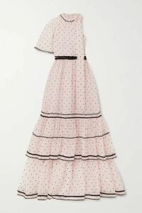 Erdem - Natalina One-sleeve Flocked Silk-blend Organza Gown - Pink