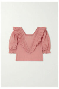 Innika Choo - Anita Eayte Ruffled Cotton-voile Top - Pink