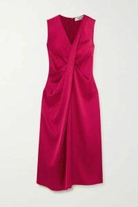 Diane von Furstenberg - Katrita Draped Satin Dress - Magenta