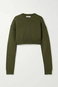 Bottega Veneta - Cropped Knitted Sweater - Army green
