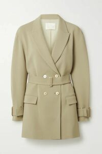 Dion Lee - Oversized Double-breasted Belted Crepe Blazer - Light green
