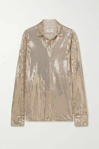 Bottega Veneta - Sequin-embellished Satin-jersey Shirt - Gold