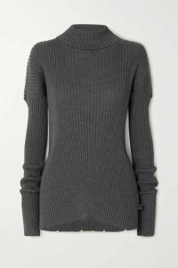 Bottega Veneta - Ribbed Wool Turtleneck Sweater - Gray