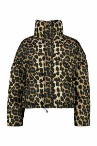 Womens Leopard Print Puffer Jacket - Brown - M, Brown