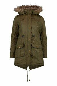 Womens Faux Fur Trim Parka Jacket - Green - 14, Green