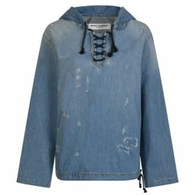 Saint Laurent Destroyed Denim Hooded Shirt