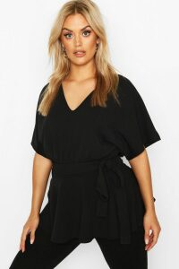 Womens Plus V-Neck Belted Peplum Top - black - 18, Black