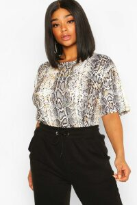 Womens Plus Snake Print Oversized T-shirt - grey - 20, Grey