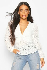 Womens Petite Broderie Volume Sleeve Twist Front Top - white - 14, White