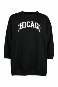Womens Petite Chicago Sweatshirt - black - 8, Black
