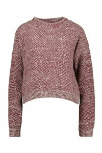 Womens Petite Waffle Knit Marl Knitted Jumper - red - S, Red