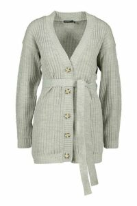 Womens Petite Rib Knitted Belted Cardigan - Grey - 4, Grey