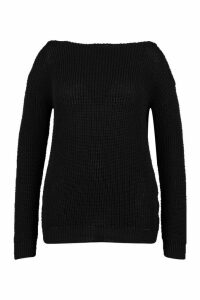 Womens Plus Slash Neck Fisherman Jumper - black - 18, Black