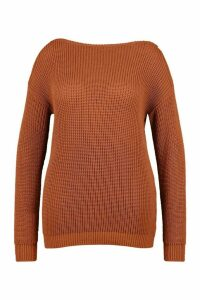 Womens Plus Slash Neck Fisherman Jumper - hazelnut - 20, Hazelnut