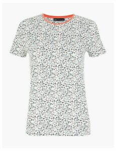M&S Collection Cotton Rich Animal Print Fitted T-Shirt