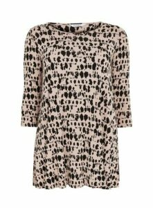 Neutral Abstract Animal Print Top, Nude