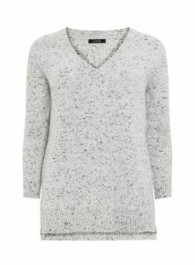 Grey Knitted V Neck Jumper, Grey