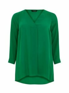 Green Long Sleeve Cross Front Top, Mid Green