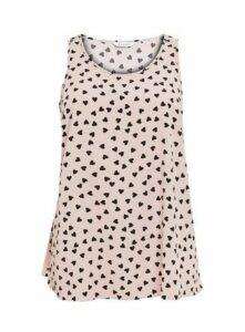Pink Heart Print Vest, Blush