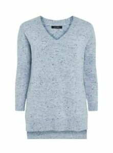 Blue Knitted V Neck Jumper, Blue