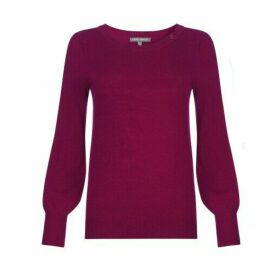 Cranberry Button Neck Jumper