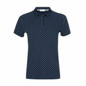 Navy Polka Dot Jersey Shirt with Collar