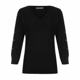 Black Batwing Jumper with Button Sleeves