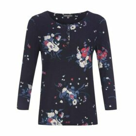 Posey Floral Print Placket Top