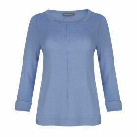 Blue Square Neck Merino Jumper
