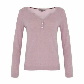 Heather Marl Flower Button Henley Jumper