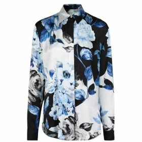 Off White Floral Silk Long Sleeved Shirt