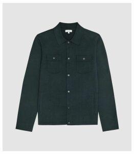 Reiss Julian - Twin Pocket Knitted Cardigan in Green, Mens, Size XXL