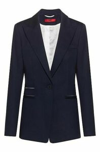 Regular-fit jacket in stretch cotton with contrast details