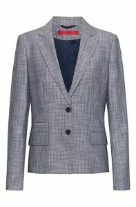 Regular-fit jacket in melange fabric with patterned lining