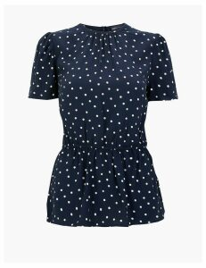 M&S Collection Polka Dot Shirred Waisted Blouse