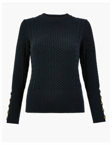Per Una Cable Knit Round Neck Jumper