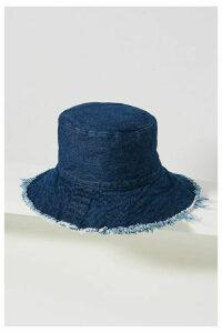 Cassie Fringed Denim Bucket Hat - Blue