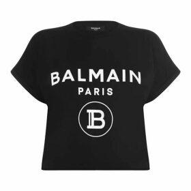 Balmain Crop Logo T Shirt