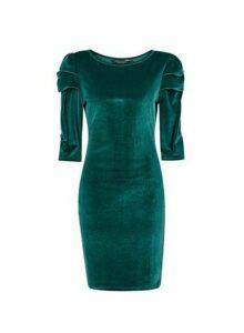 Womens Green Velvet Puff Sleeve Bodycon Dress, Green