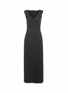 Womens **Luxe Monochrome Spot Print Pleated Midaxi Dress- Multi Colour, Multi Colour