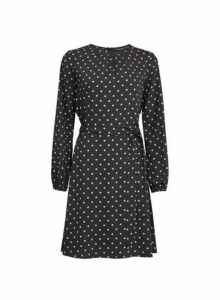 Womens Black Spot Printed Fit And Flare Dress, Black