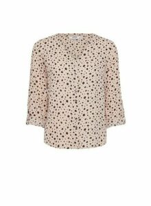 Womens Dp Petite Blush And Black Spot Roll Sleeve Blouse - Pink, Pink