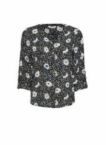 Womens Petite Cobalt Daisy And Dot Print Roll Sleeve Shirt, Cobalt