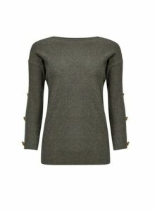 Womens Grey Button Sleeve Jumper, Grey