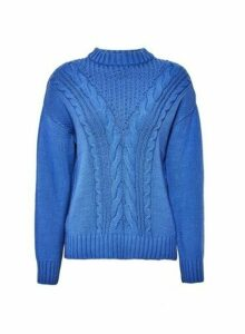 Womens Blue Cotton Cable Jumper, Blue