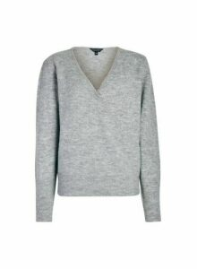 Womens Grey Marl Wrap Jumper, Grey